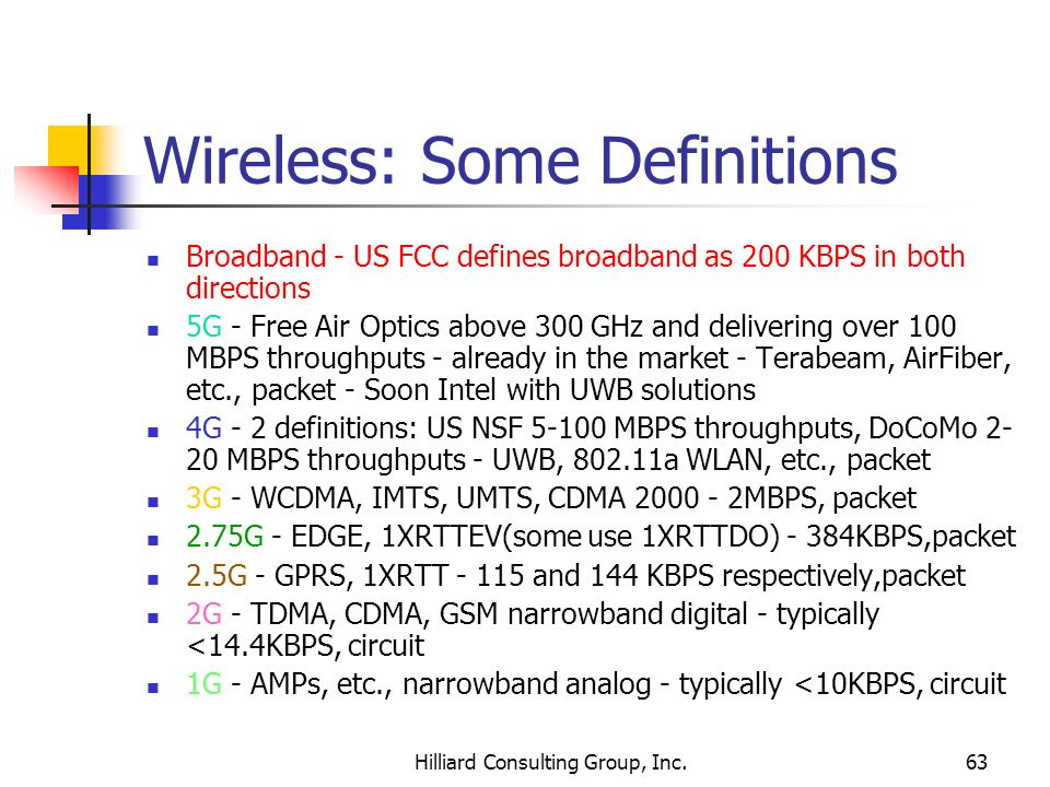 Hilliard Consulting Group, Inc.63 Wireless: Some Definitions Broadband - US FCC defines broadband as 200 KBPS in both directions 5G - Free Air Optics