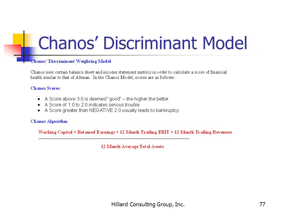 Hilliard Consulting Group, Inc.77 Chanos Discriminant Model