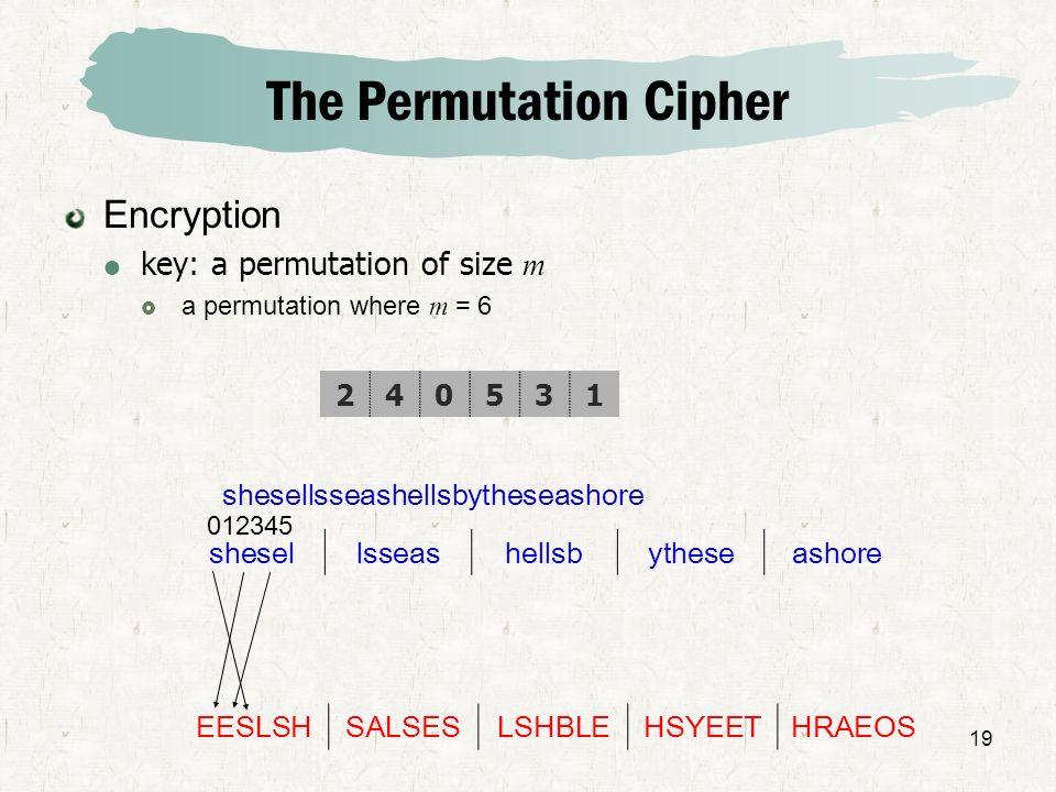 19 The Permutation Cipher Encryption key: a permutation of size m a permutation where m = 6 shesellsseashellsbytheseashore shesellsseashellsbytheseash