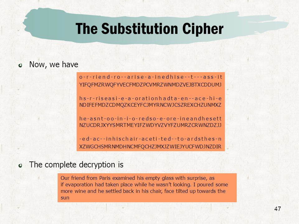 47 The Substitution Cipher Now, we have The complete decryption is o-r-riend-ro--arise-a-inedhise--t---ass-it YIFQFMZRWQFYVECFMDZPCVMRZWNMDZVEJBTXCDDU