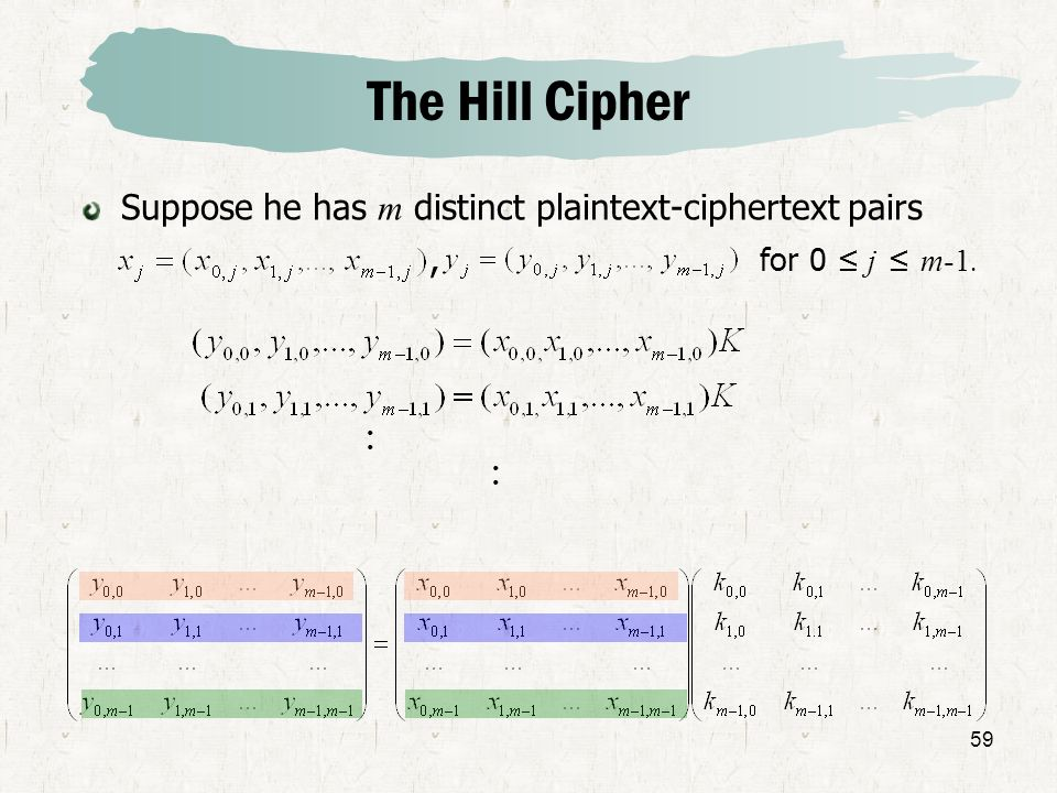 59 Suppose he has m distinct plaintext-ciphertext pairs, for 0 j m-1. The Hill Cipher · ·