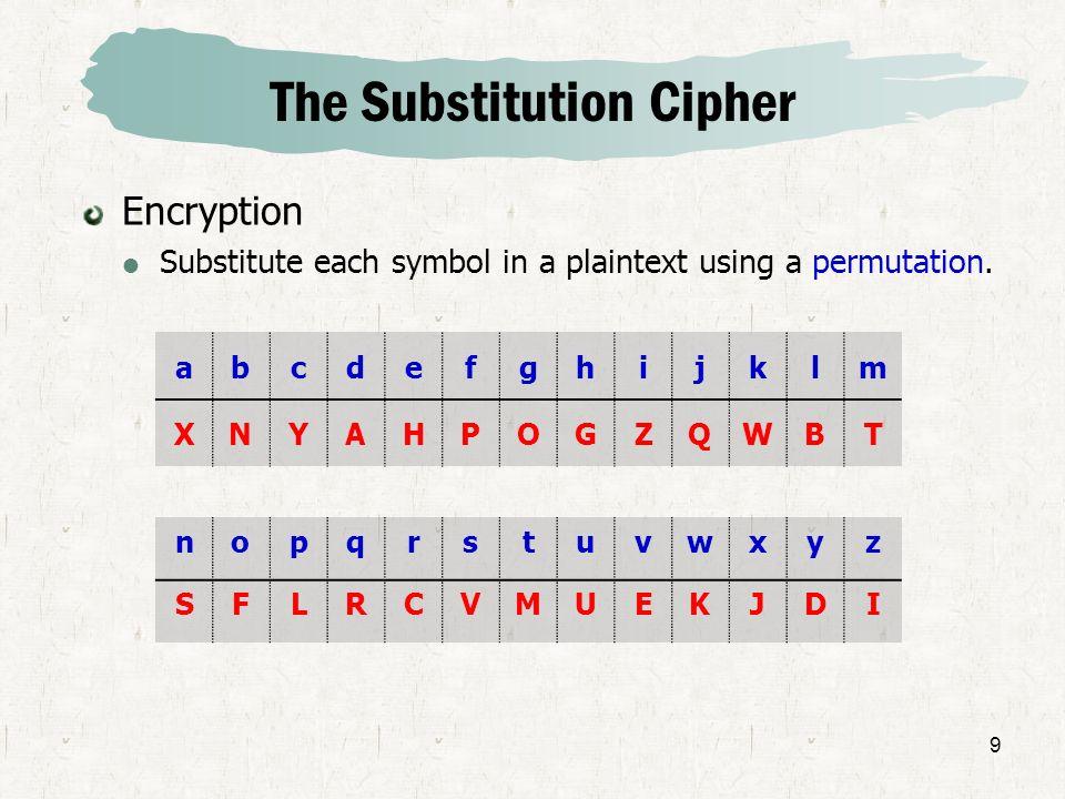 9 The Substitution Cipher Encryption Substitute each symbol in a plaintext using a permutation. abcdefghijklm XNYAHPOGZQWBT nopqrstuvwxyz SFLRCVMUEKJD