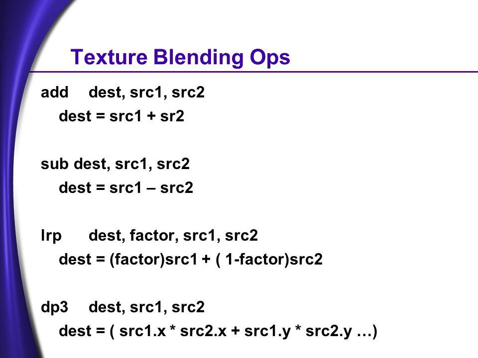 Texture Blending Ops adddest, src1, src2 dest = src1 + sr2 sub dest, src1, src2 dest = src1 – src2 lrpdest, factor, src1, src2 dest = (factor)src1 + ( 1-factor)src2 dp3dest, src1, src2 dest = ( src1.x * src2.x + src1.y * src2.y …)