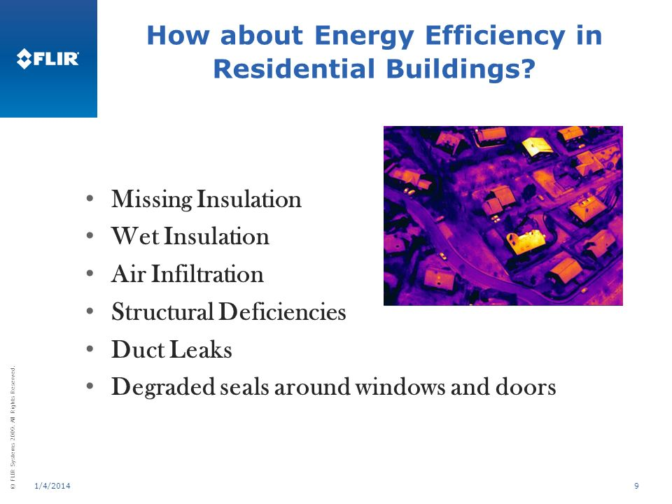 © FLIR Systems 2009. All Rights Reserved. 1/4/20149 Missing Insulation Wet Insulation Air Infiltration Structural Deficiencies Duct Leaks Degraded sea
