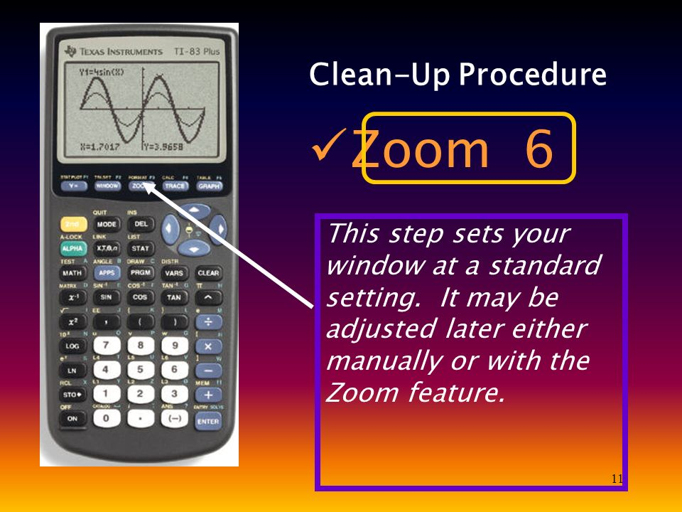 11 Clean-Up Procedure Zoom 6 This step sets your window at a standard setting. It may be adjusted later either manually or with the Zoom feature.