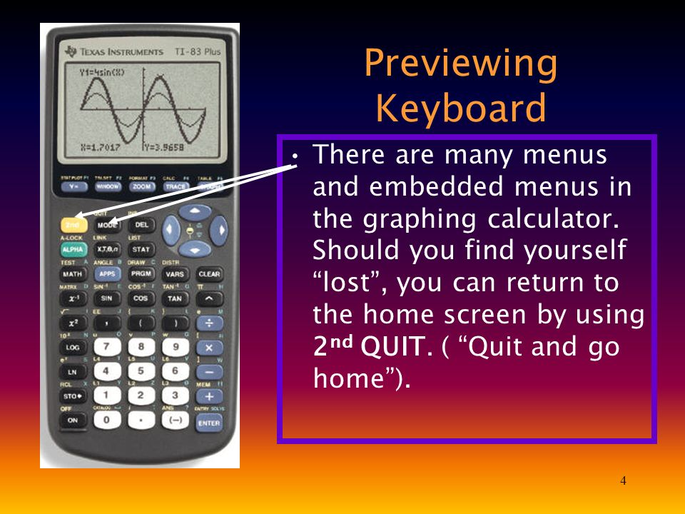 4 Previewing Keyboard There are many menus and embedded menus in the graphing calculator. Should you find yourself lost, you can return to the home sc