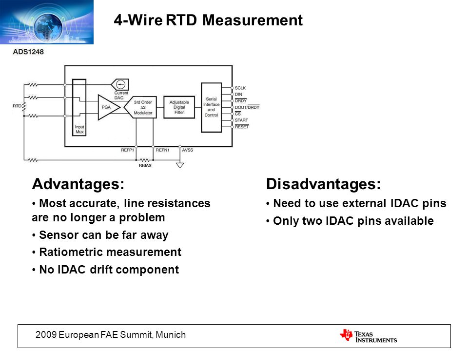 2009 European FAE Summit, Munich 4-Wire RTD Measurement Advantages: Most accurate, line resistances are no longer a problem Sensor can be far away Ratiometric measurement No IDAC drift component Disadvantages: Need to use external IDAC pins Only two IDAC pins available