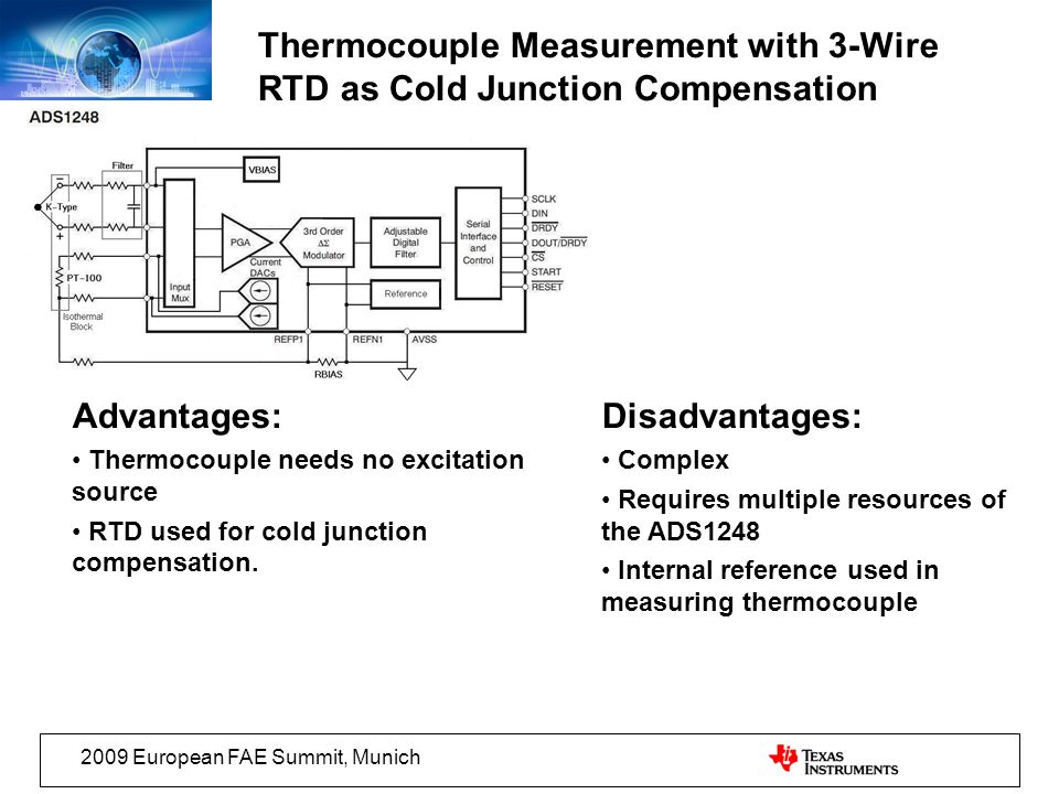 2009 European FAE Summit, Munich Thermocouple Measurement with 3-Wire RTD as Cold Junction Compensation Advantages: Thermocouple needs no excitation s