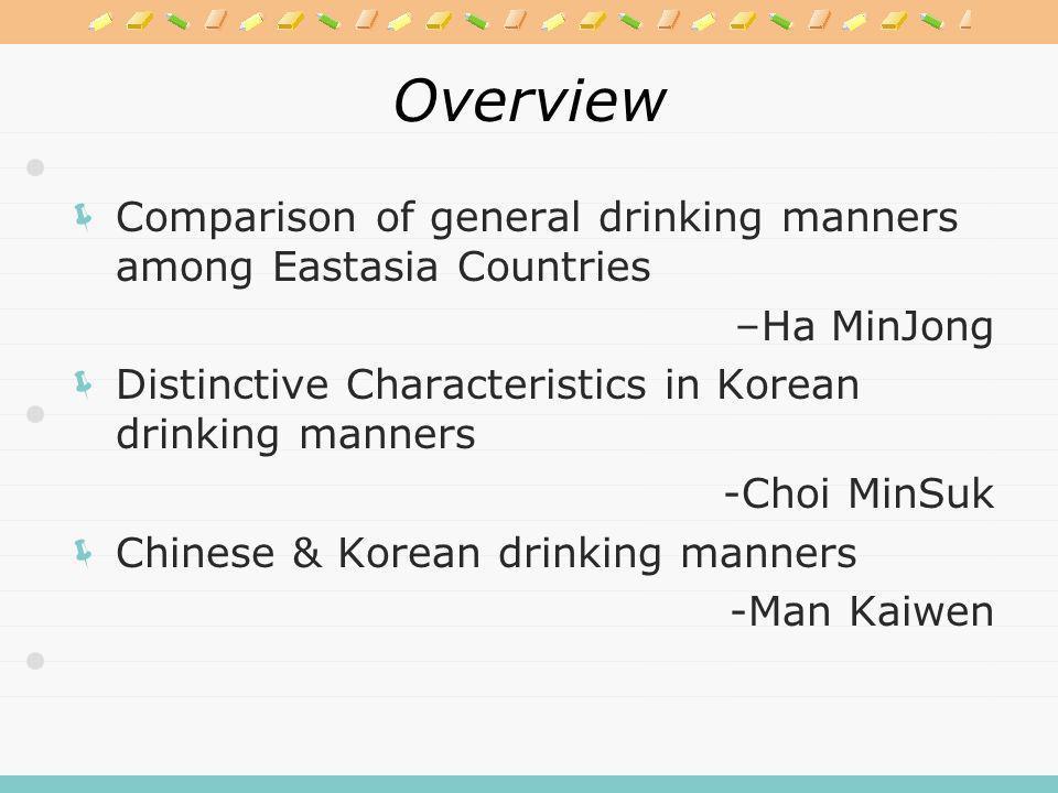 Drinking Manners & Etiquettes Ha MinJong Choi Minsuk Man Kaiwen November 2nd, 2009