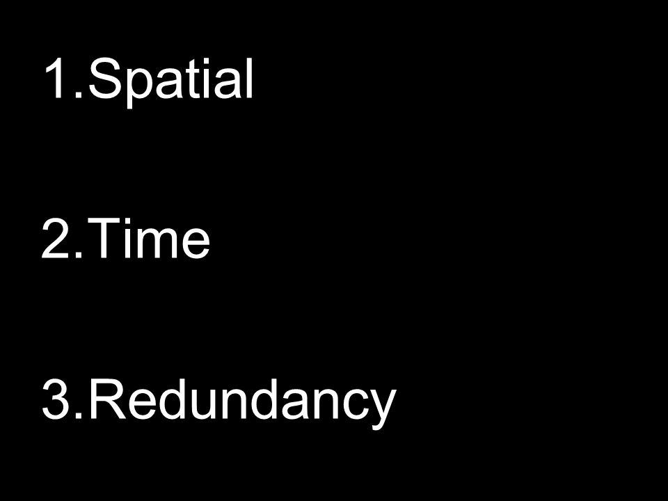 1.Spatial 2.Time 3.Redundancy
