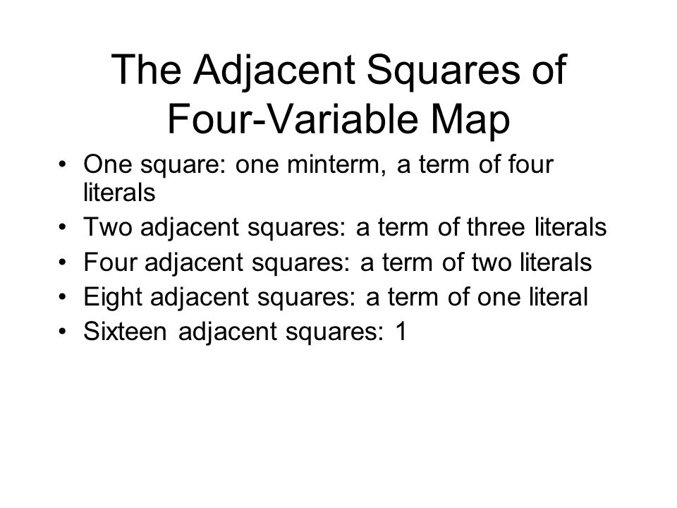 The Adjacent Squares of Four-Variable Map One square: one minterm, a term of four literals Two adjacent squares: a term of three literals Four adjacen