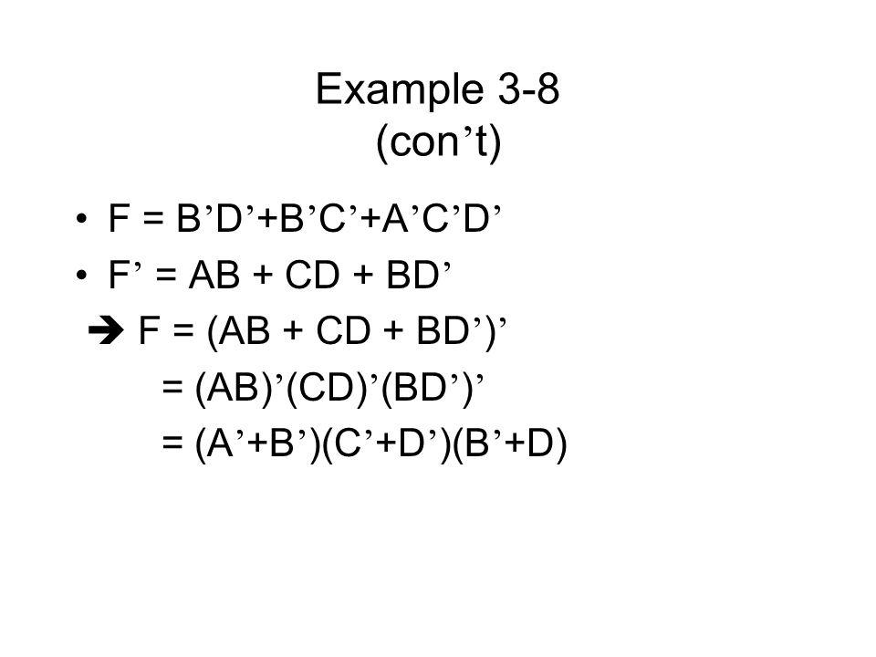 Example 3-8 (con t) F = B D +B C +A C D F = AB + CD + BD F = (AB + CD + BD ) = (AB) (CD) (BD ) = (A +B )(C +D )(B +D)