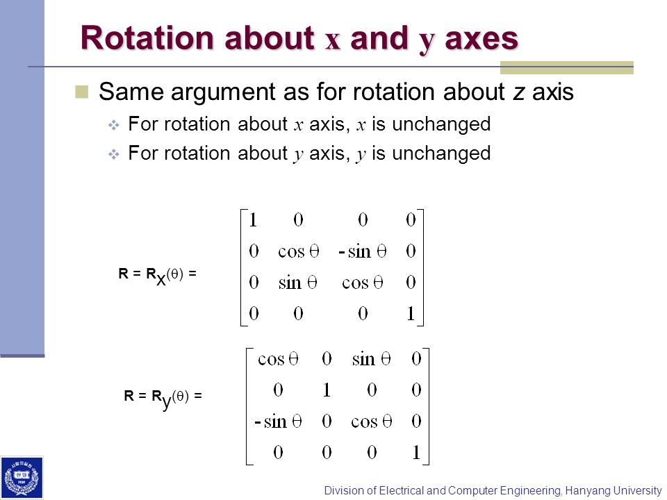Division of Electrical and Computer Engineering, Hanyang University Rotation about x and y axes Same argument as for rotation about z axis For rotatio