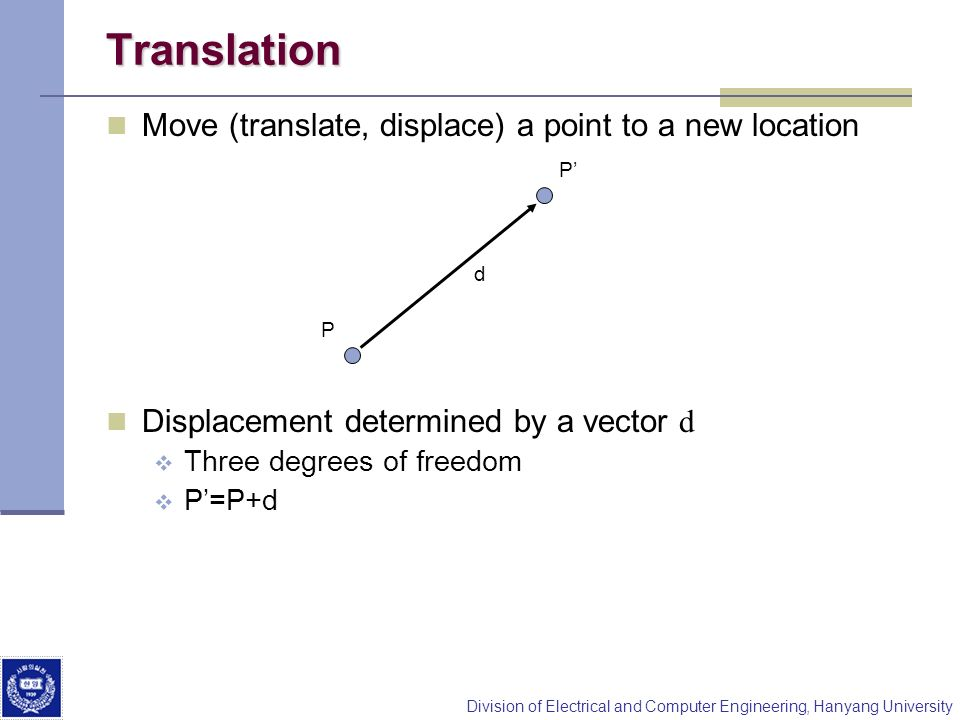 Division of Electrical and Computer Engineering, Hanyang University Translation Move (translate, displace) a point to a new location Displacement dete