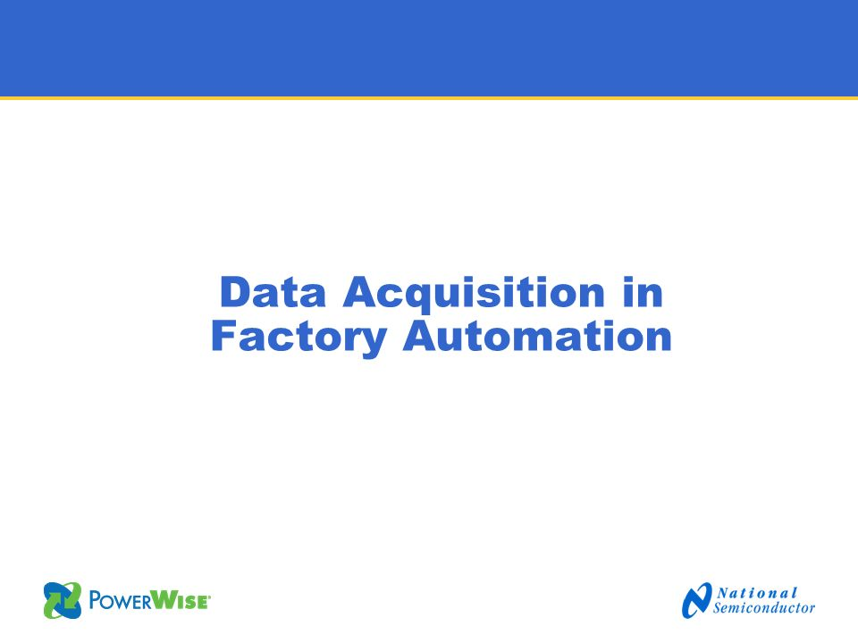 Data Acquisition in Factory Automation