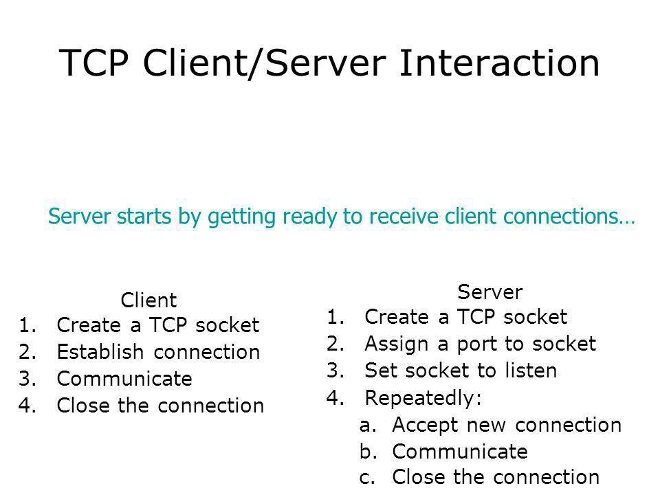 TCP Client/Server Interaction Client 1.Create a TCP socket 2.Establish connection 3.Communicate 4.Close the connection Server 1.Create a TCP socket 2.Assign a port to socket 3.Set socket to listen 4.Repeatedly: a.Accept new connection b.Communicate c.Close the connection Server starts by getting ready to receive client connections…