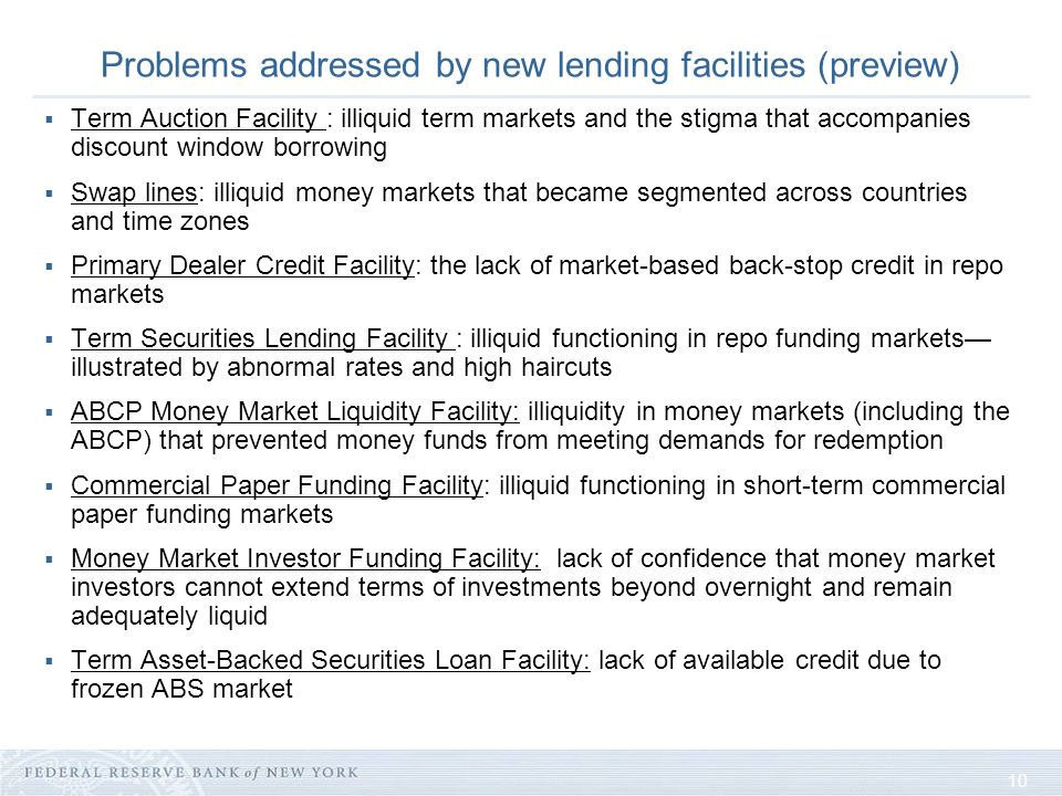 10 Problems addressed by new lending facilities (preview) Term Auction Facility : illiquid term markets and the stigma that accompanies discount window borrowing Swap lines: illiquid money markets that became segmented across countries and time zones Primary Dealer Credit Facility: the lack of market-based back-stop credit in repo markets Term Securities Lending Facility : illiquid functioning in repo funding markets illustrated by abnormal rates and high haircuts ABCP Money Market Liquidity Facility: illiquidity in money markets (including the ABCP) that prevented money funds from meeting demands for redemption Commercial Paper Funding Facility: illiquid functioning in short-term commercial paper funding markets Money Market Investor Funding Facility: lack of confidence that money market investors cannot extend terms of investments beyond overnight and remain adequately liquid Term Asset-Backed Securities Loan Facility: lack of available credit due to frozen ABS market
