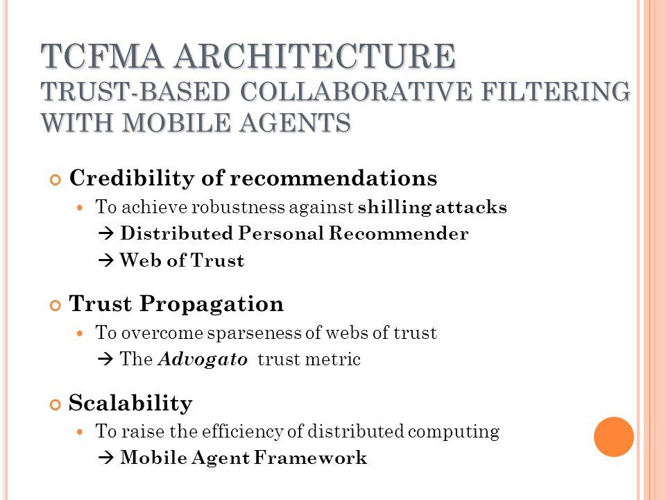 P ERFORMANCE E VALUATION Prototype system implemented using IBM aglet Software with JDK 1.4.2 Benchmark system to compare the performance Random model building (in PocketLens ) - Miller, B., Konstan, J., Terveen, L., Riedl, J.: PocketLens: Towards a Personal Recommender System.
