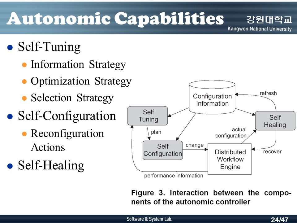 24/47 Autonomic Capabilities Self-Tuning Information Strategy Optimization Strategy Selection Strategy Self-Configuration Reconfiguration Actions Self-Healing