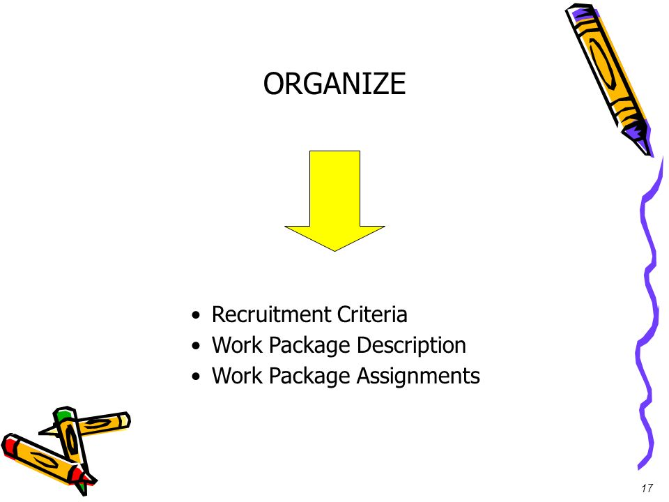 17 ORGANIZE Recruitment Criteria Work Package Description Work Package Assignments