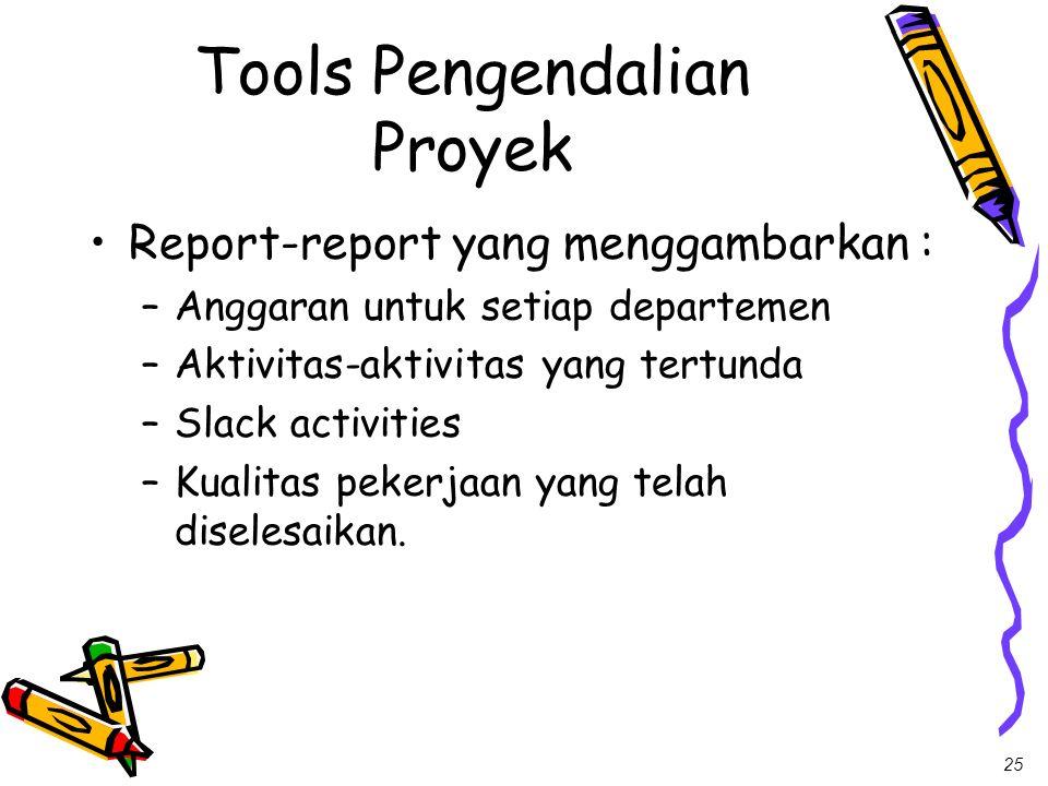 25 Tools Pengendalian Proyek Report-report yang menggambarkan : –Anggaran untuk setiap departemen –Aktivitas-aktivitas yang tertunda –Slack activities