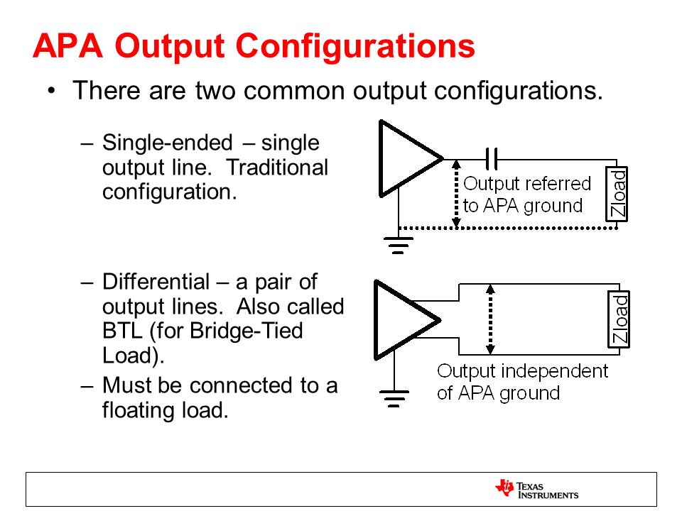 APA Output Configurations There are two common output configurations. –Single-ended – single output line. Traditional configuration. –Differential – a