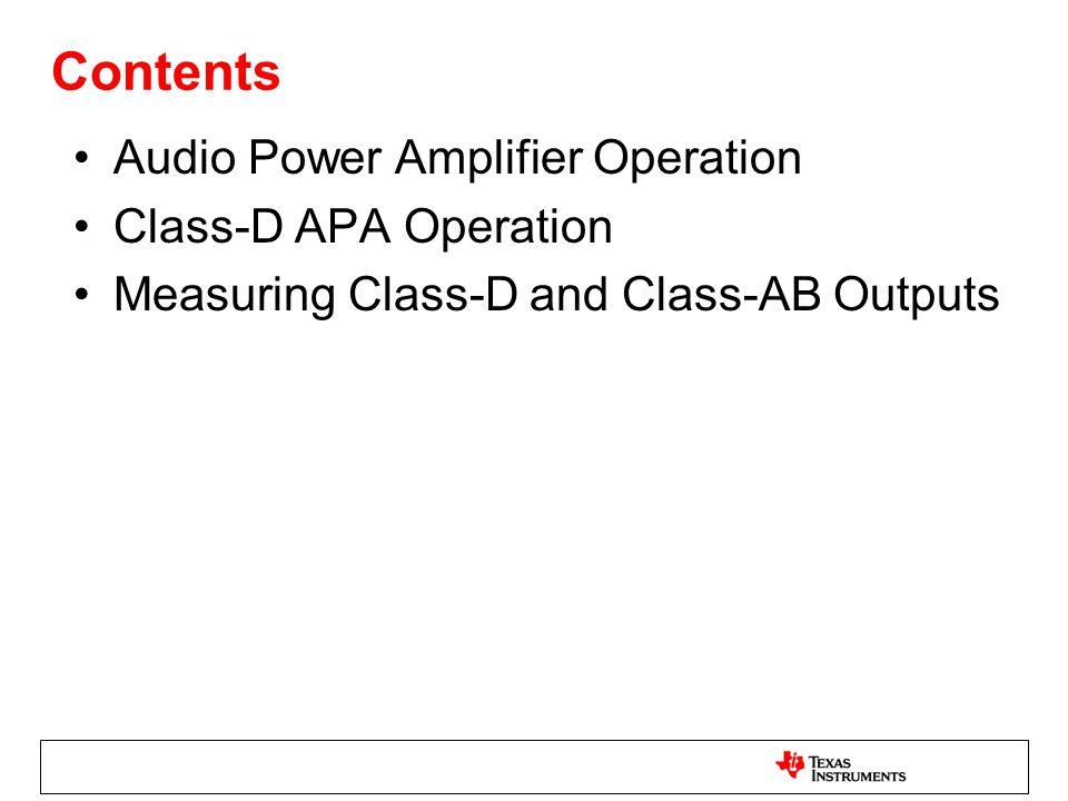 Contents Audio Power Amplifier Operation Class-D APA Operation Measuring Class-D and Class-AB Outputs