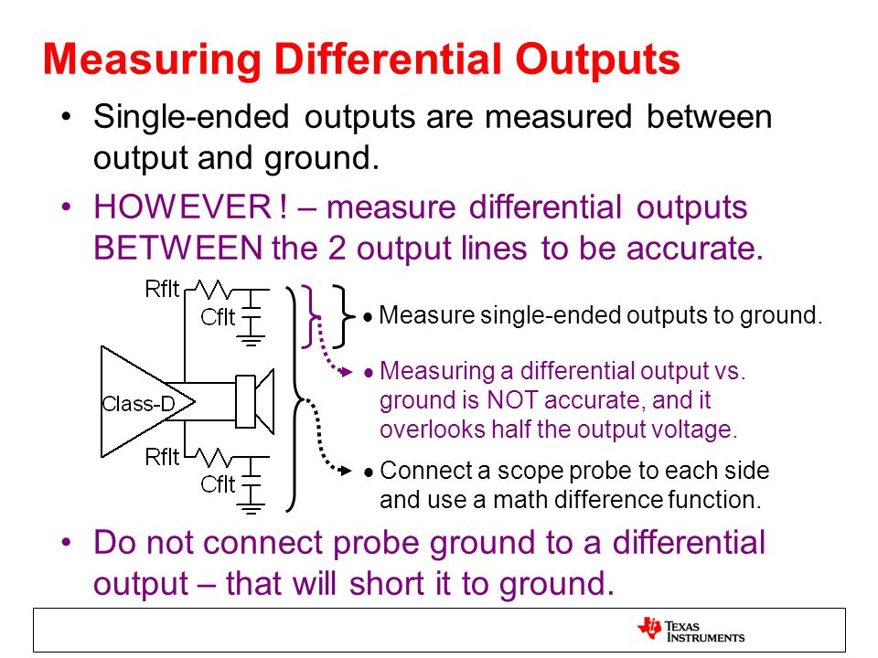 Measuring Differential Outputs Single-ended outputs are measured between output and ground. HOWEVER ! – measure differential outputs BETWEEN the 2 out