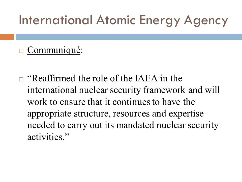 International Atomic Energy Agency Communiqué: Reaffirmed the role of the IAEA in the international nuclear security framework and will work to ensure