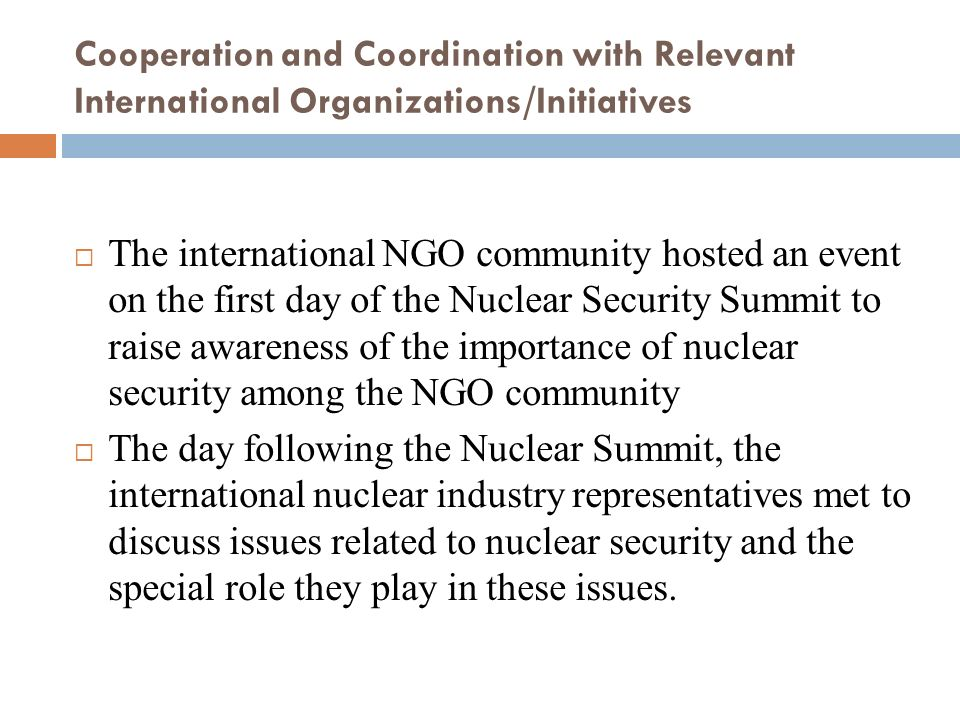 Cooperation and Coordination with Relevant International Organizations/Initiatives The international NGO community hosted an event on the first day of