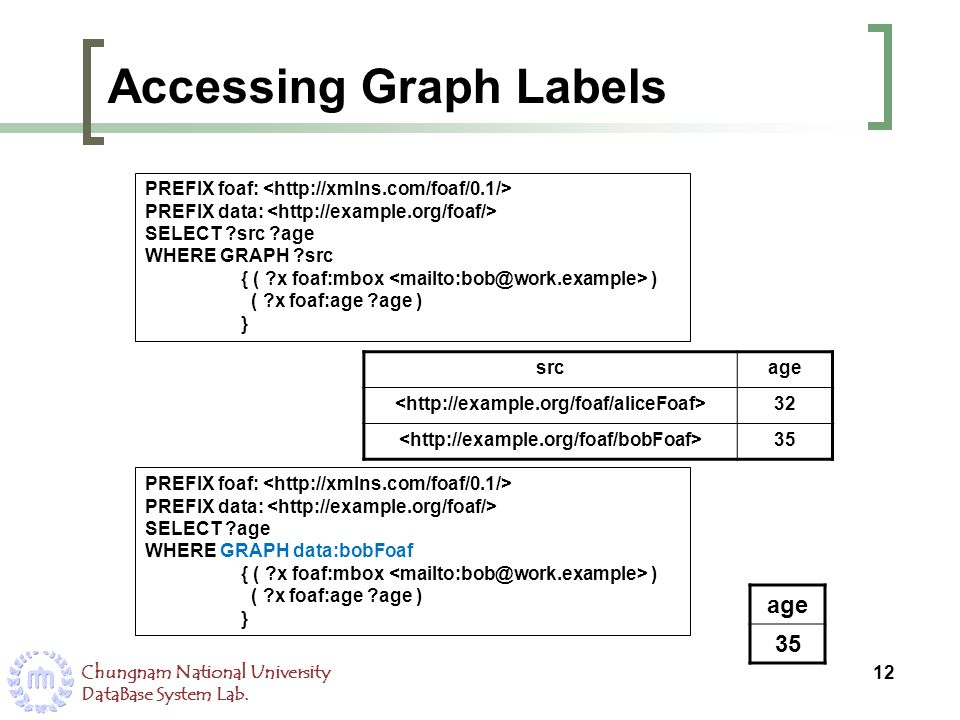 Chungnam National University DataBase System Lab. Accessing Graph Labels 12 PREFIX foaf: PREFIX data: SELECT ?src ?age WHERE GRAPH ?src { ( ?x foaf:mb