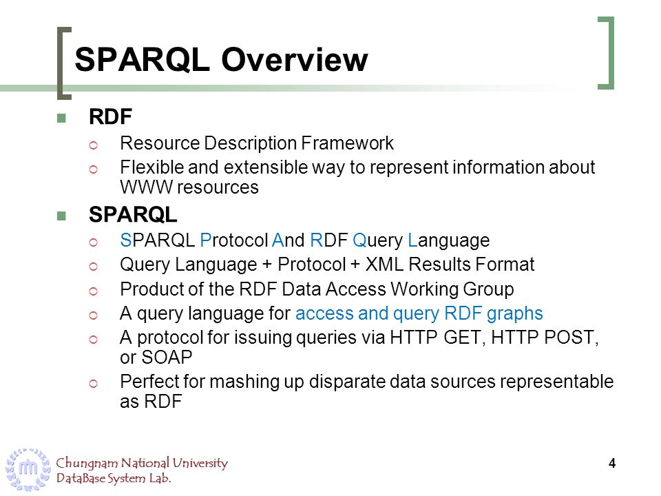 Chungnam National University DataBase System Lab. SPARQL Overview RDF Resource Description Framework Flexible and extensible way to represent informat