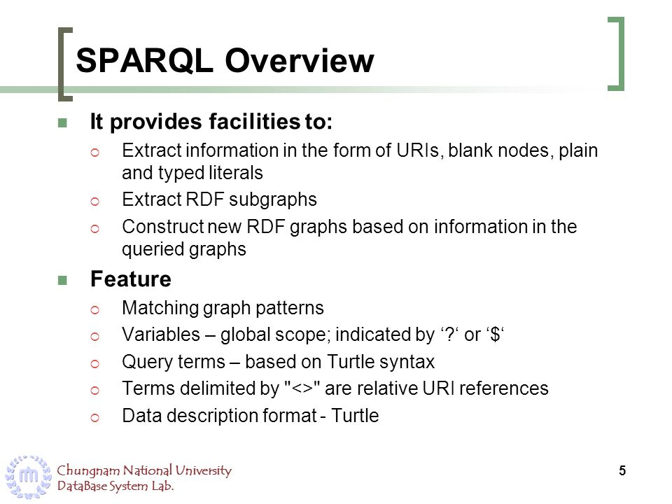 Chungnam National University DataBase System Lab. SPARQL Overview It provides facilities to: Extract information in the form of URIs, blank nodes, pla