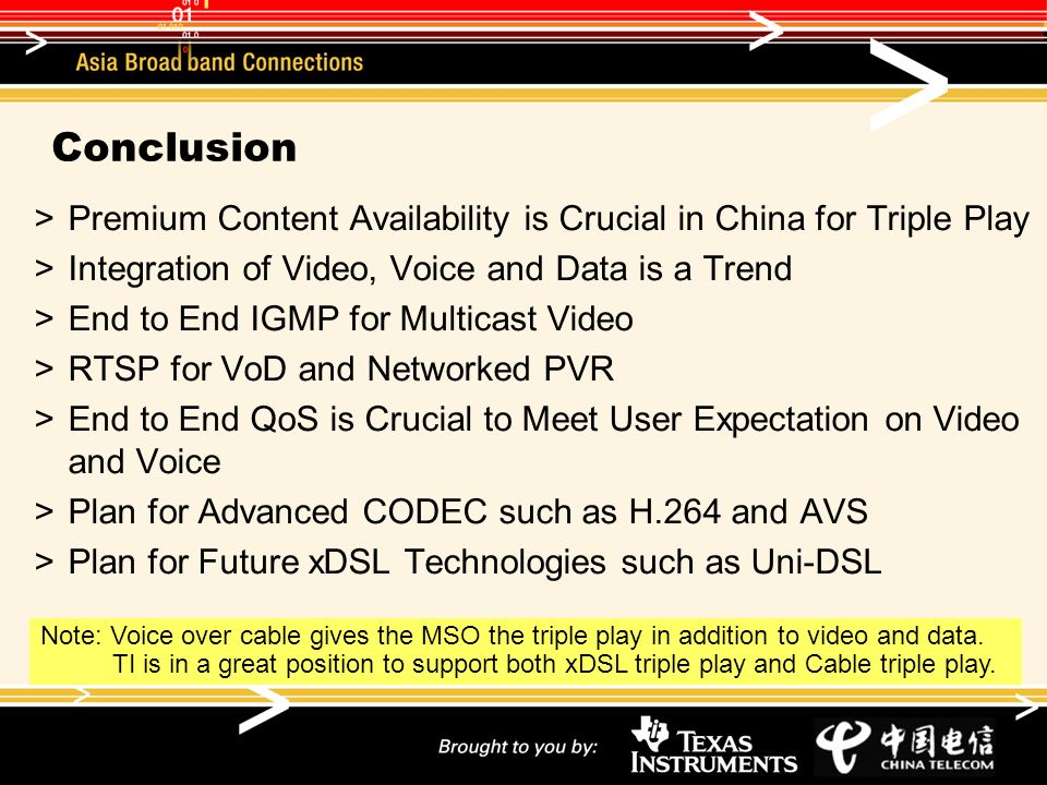 Conclusion Premium Content Availability is Crucial in China for Triple Play Integration of Video, Voice and Data is a Trend End to End IGMP for Multic