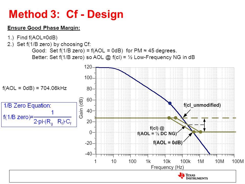 Method 3: Cf - Design Ensure Good Phase Margin: 1.) Find f(AOL=0dB) 2.) Set f(1/B zero) by choosing Cf: Good: Set f(1/B zero) = f(AOL = 0dB) for PM 45
