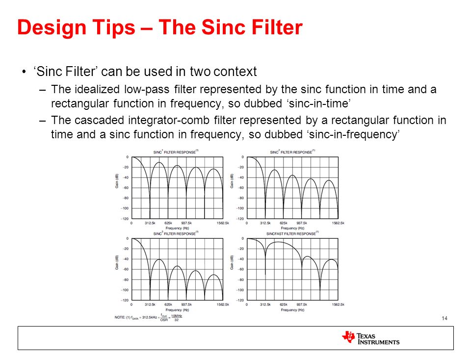 14 Design Tips – The Sinc Filter Sinc Filter can be used in two context –The idealized low-pass filter represented by the sinc function in time and a