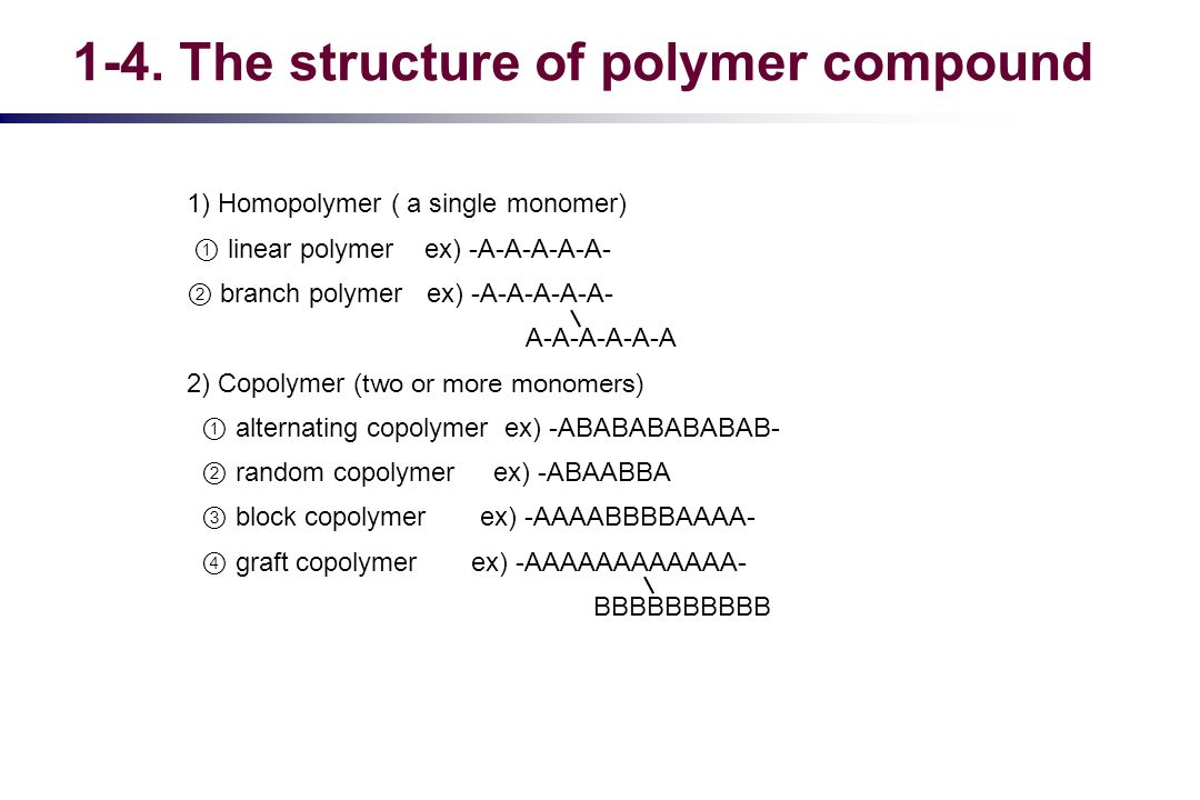 1) Homopolymer ( a single monomer) linear polymer ex) -A-A-A-A-A- branch polymer ex) -A-A-A-A-A- A-A-A-A-A-A 2) Copolymer (two or more monomers) alter