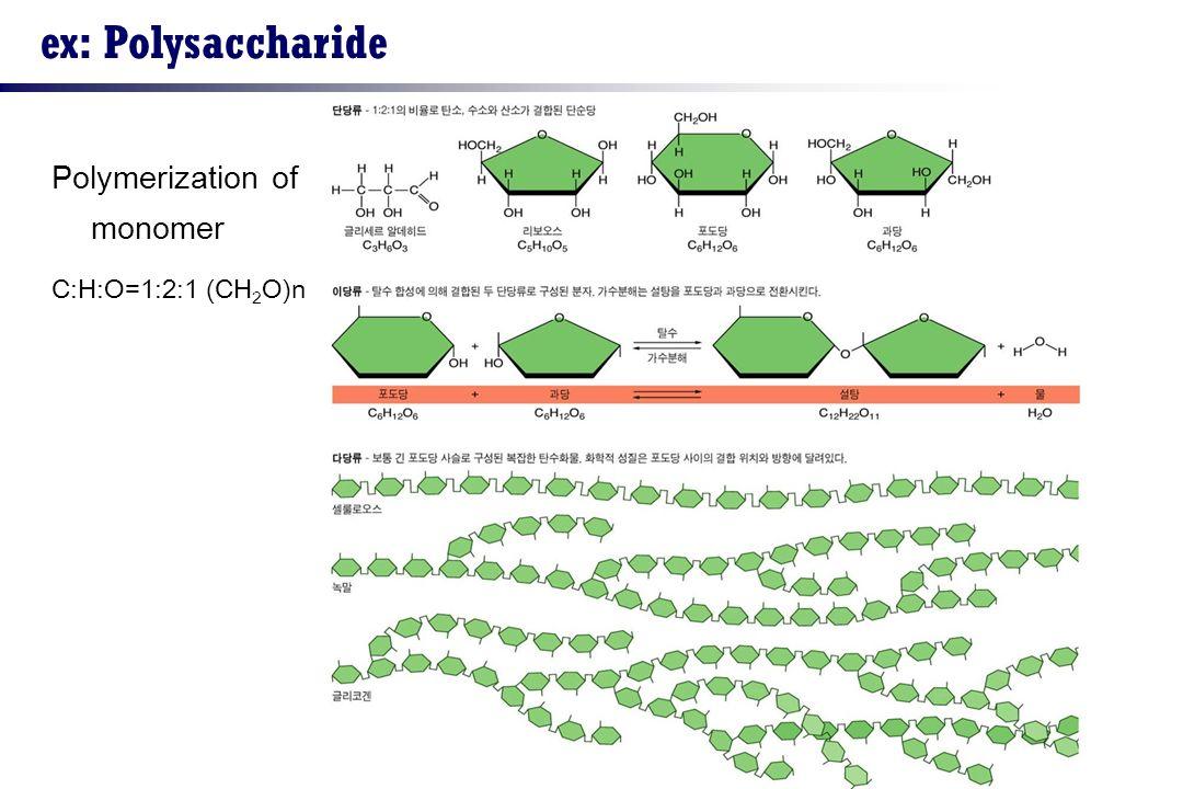 ex: Polysaccharide Polymerization of monomer C:H:O=1:2:1 (CH 2 O)n