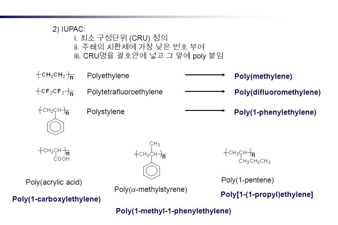 2) IUPAC: i. (CRU) ii. iii. CRU poly Polyethylene Polytetrafluoroethylene Polystylene n n n n n n Poly(acrylic acid) Poly( -methylstyrene) Poly(1-pent