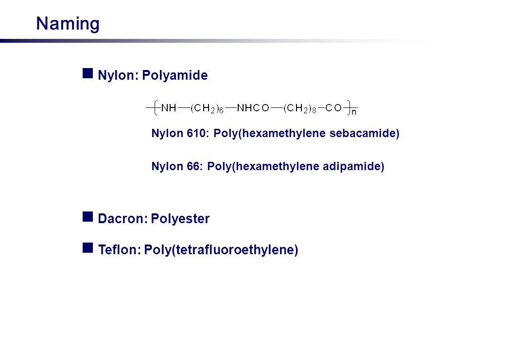 Naming Nylon: Polyamide n Nylon 610: Poly(hexamethylene sebacamide) Dacron: Polyester Nylon 66: Poly(hexamethylene adipamide) Teflon: Poly(tetrafluoro