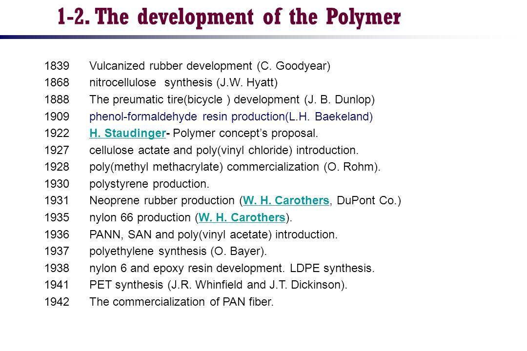 1839 Vulcanized rubber development (C. Goodyear) 1868 nitrocellulose synthesis (J.W. Hyatt) 1888 The preumatic tire(bicycle ) development (J. B. Dunlo