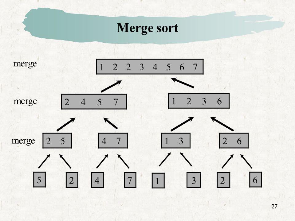27 12234567 2457 1236 25471326 5 247 1 32 6 merge Merge sort