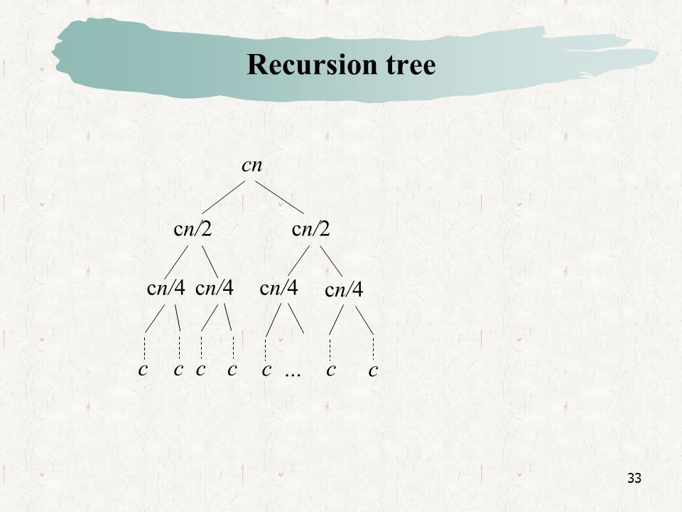 33 Recursion tree cn cn/2 cn/4 cccc cc c…