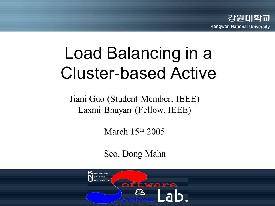 Load Balancing in a Cluster-based Active Jiani Guo (Student Member, IEEE) Laxmi Bhuyan (Fellow, IEEE) March 15 th 2005 Seo, Dong Mahn