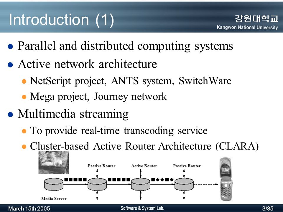 March 15th 20053/35 Introduction (1) Parallel and distributed computing systems Active network architecture NetScript project, ANTS system, SwitchWare Mega project, Journey network Multimedia streaming To provide real-time transcoding service Cluster-based Active Router Architecture (CLARA)