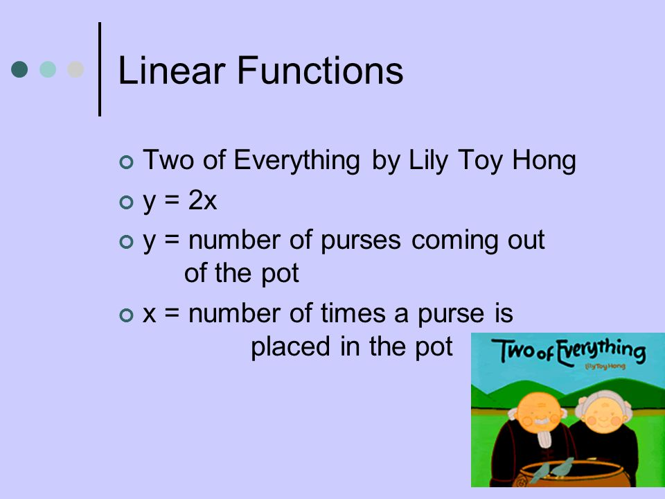 Linear Functions Two of Everything by Lily Toy Hong y = 2x y = number of purses coming out of the pot x = number of times a purse is placed in the pot