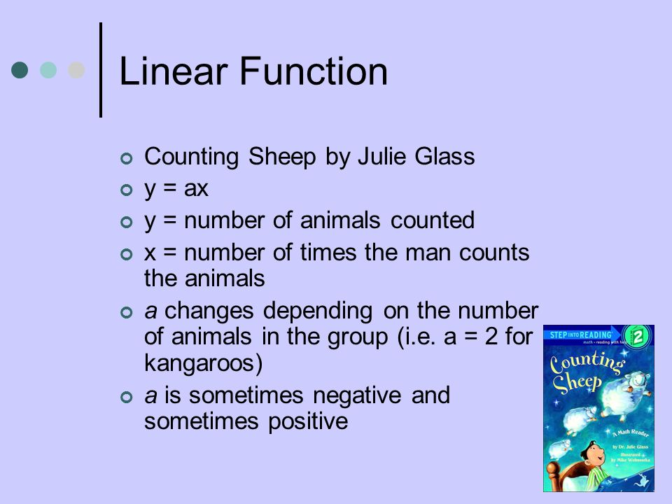 Linear Function Counting Sheep by Julie Glass y = ax y = number of animals counted x = number of times the man counts the animals a changes depending