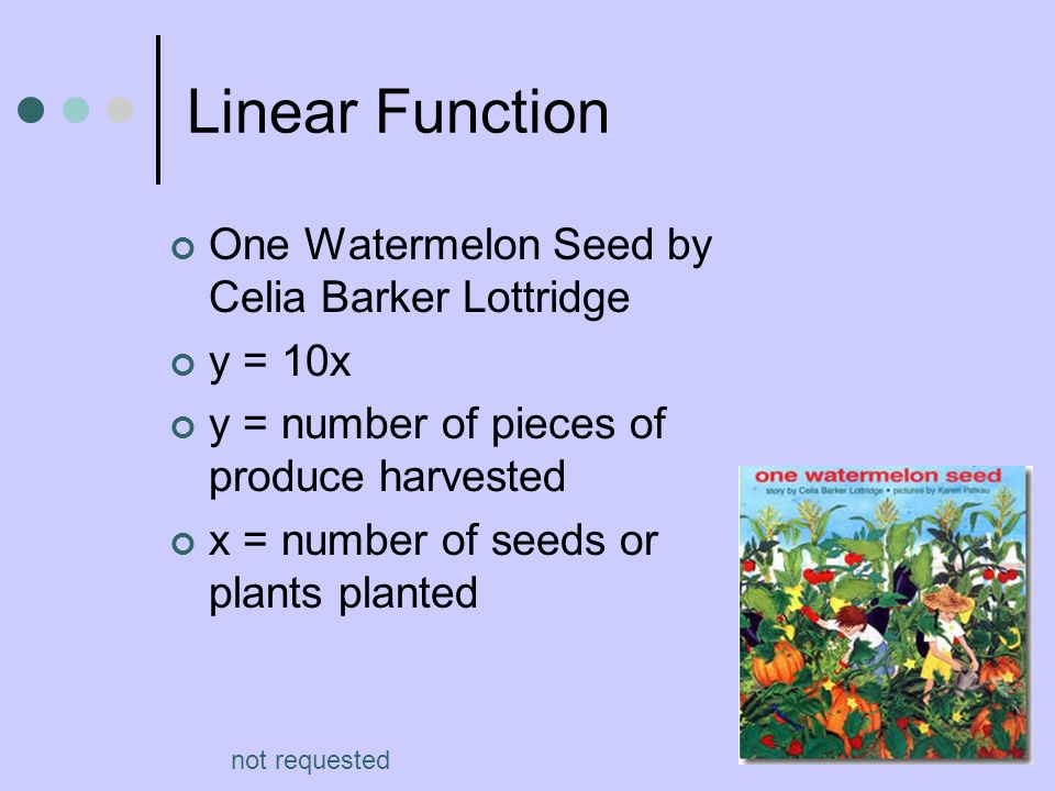 Linear Function One Watermelon Seed by Celia Barker Lottridge y = 10x y = number of pieces of produce harvested x = number of seeds or plants planted