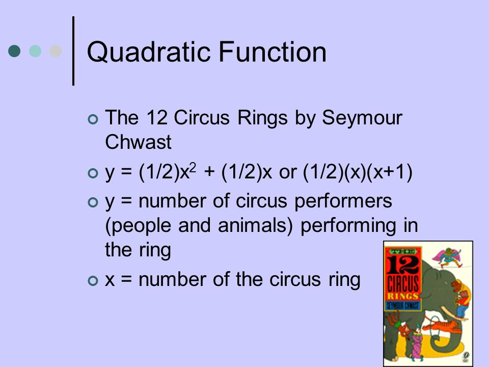 Quadratic Function The 12 Circus Rings by Seymour Chwast y = (1/2)x 2 + (1/2)x or (1/2)(x)(x+1) y = number of circus performers (people and animals) p