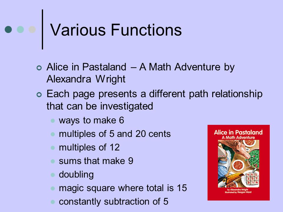 Various Functions Alice in Pastaland – A Math Adventure by Alexandra Wright Each page presents a different path relationship that can be investigated